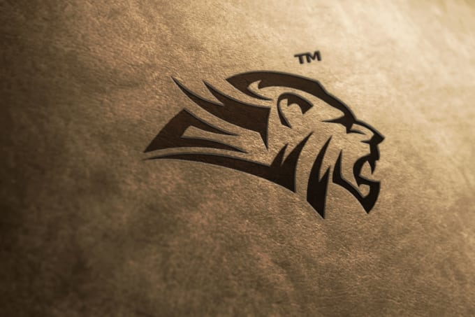 Designer with lion logo