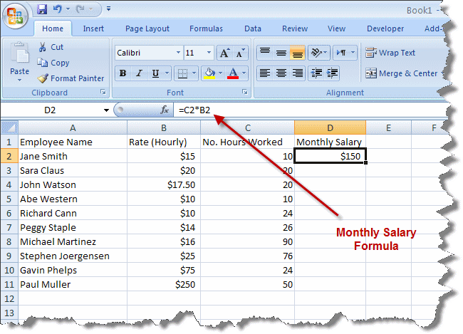 Как сделать в эксель формулу умножения в