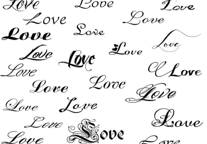 Шрифты тату любовь