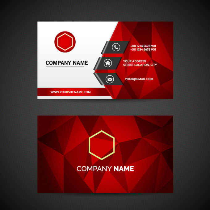 Business cards Red design 10 per page for Avery 5371