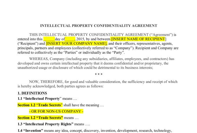 write a non disclosure agreement fiverr