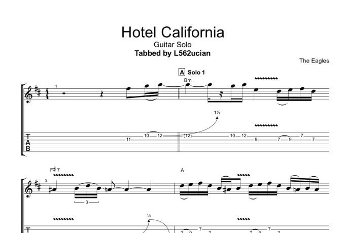 The Eagles Hotel California Solo Tab Pdf Guitar Tab Guitar Pro Tab