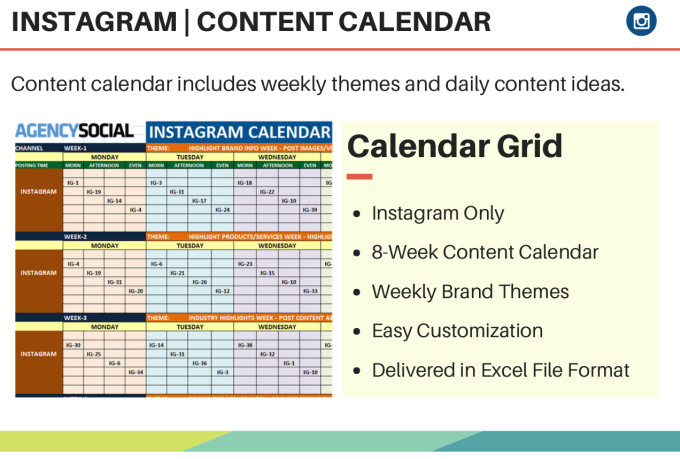 how to make a content calendar for instagram