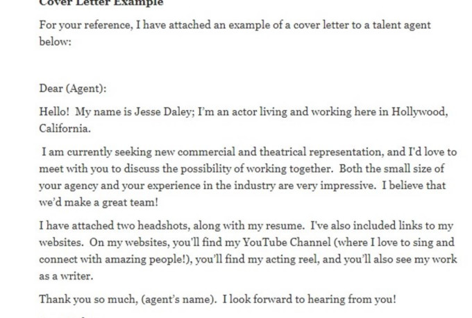 write a cover letter for an actor to submit to talent