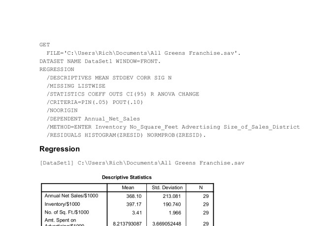 rhuebner : I will create a basic linear regression model in r with your  data for $75 on www fiverr com