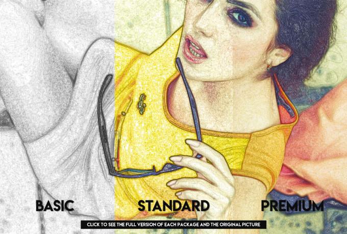 draw a realistic pencil drawing or a colored sketch portrait free sample here