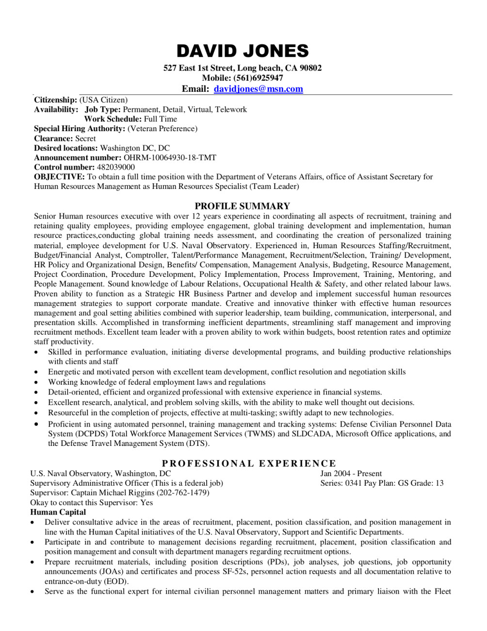 rewrite FEDERAL resume, USAJOBS cover letter, Ecq.
