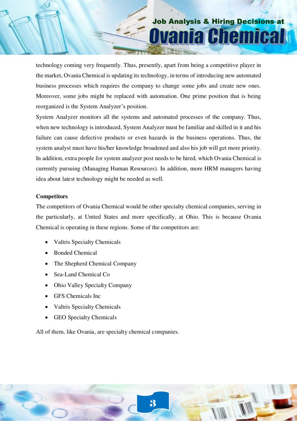job analysis and hiring decisions at ovania chemical