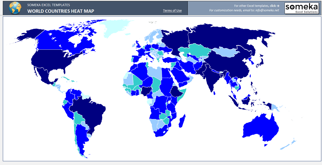 Send You World Heat Map Generator For Excel By Someka