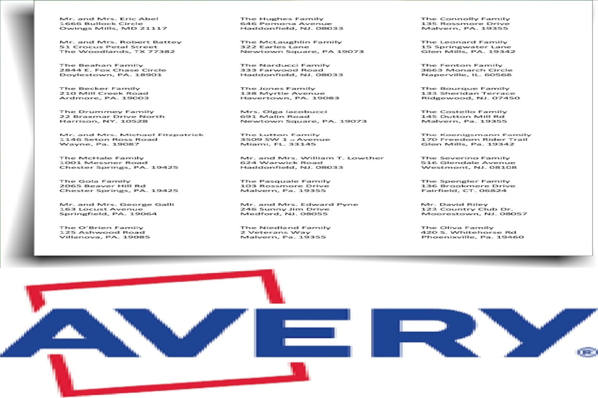 do avery 5160 mailing labels