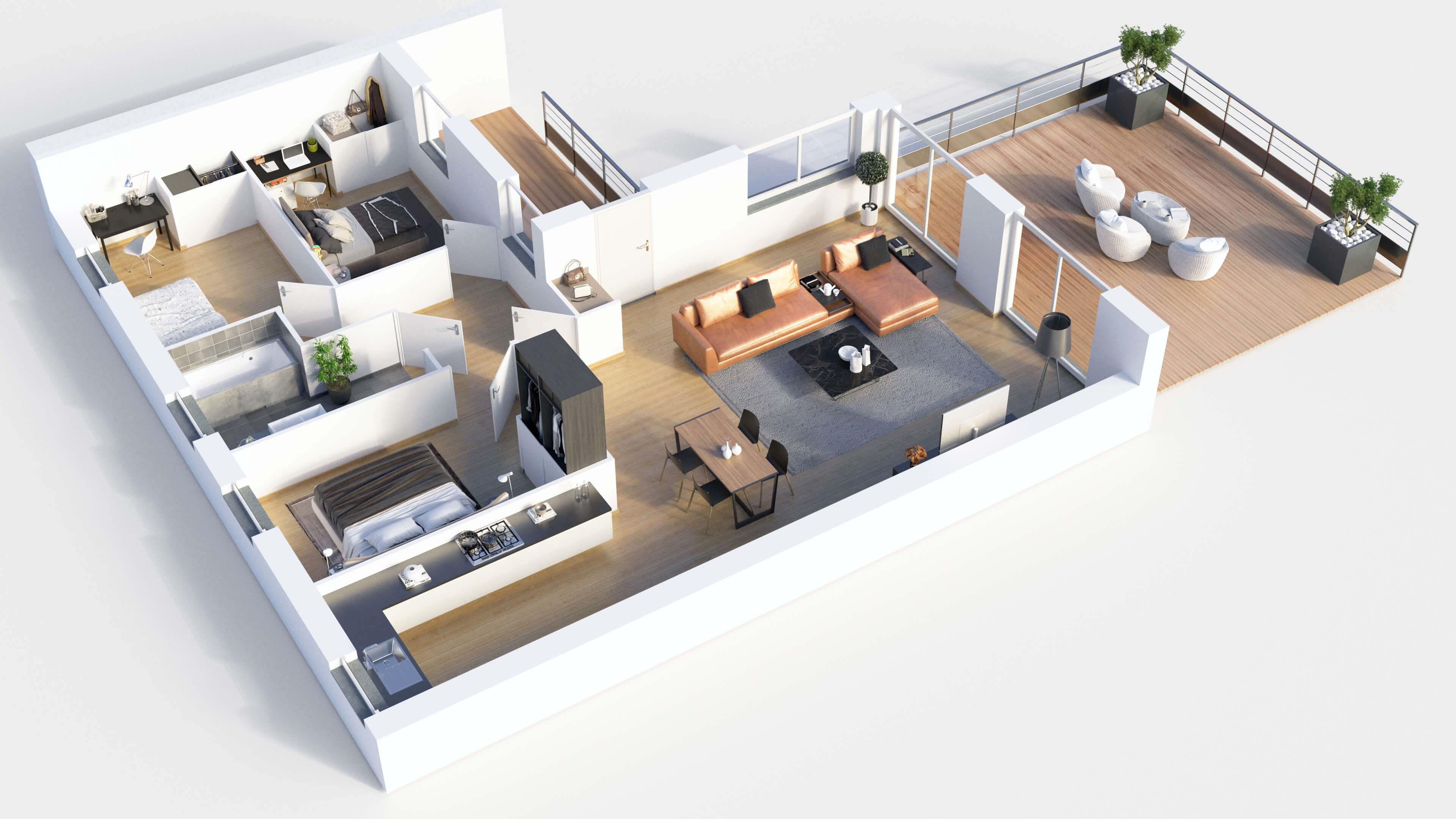 Create 3d Floor Plan Exterior And Interior Model Sketchup By Son Vn