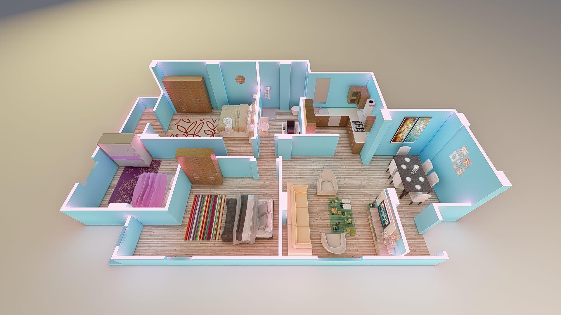 Convert Floor Plan To 3d Interior Design Rendering 3d Walkthrough Movie By Academydesign Fiverr