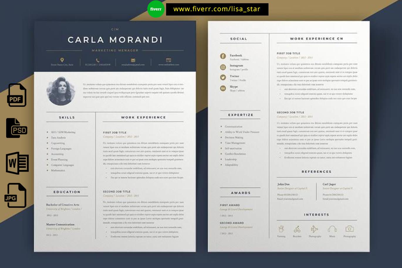 Design And Rewrite Resume Cv Cover Letter Or Portfolio By Lisa Star Fiverr
