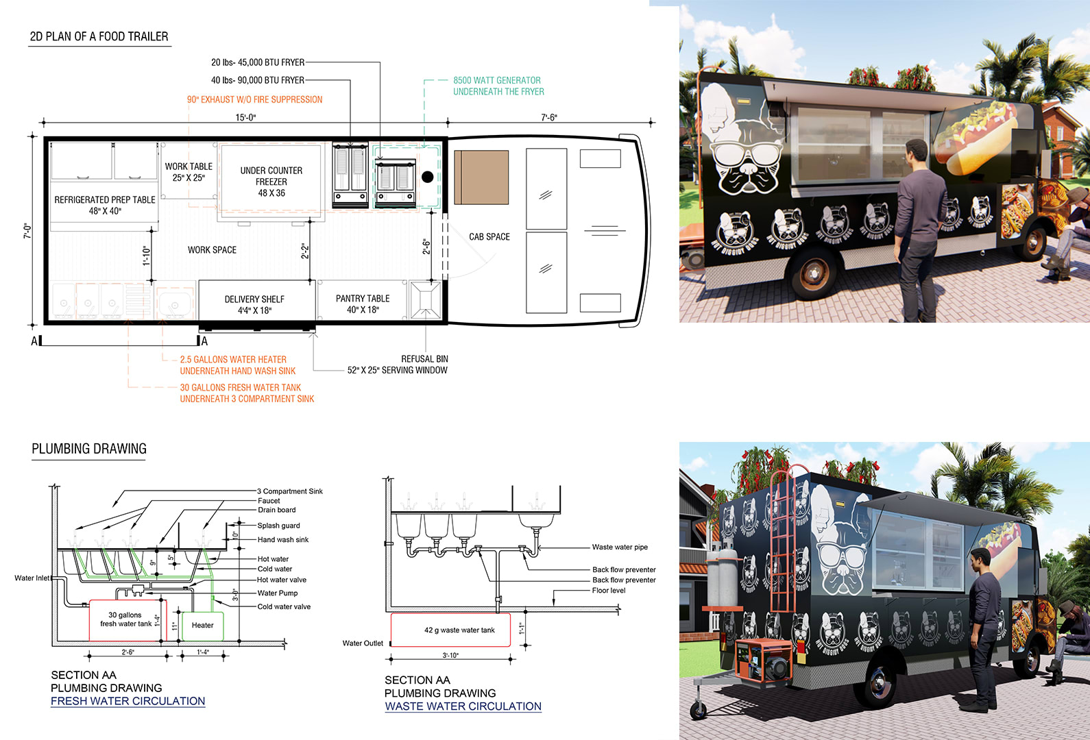Do 2d Plumbing Detail Drawing Of Your Food Truck By Sajaldatta Fiverr
