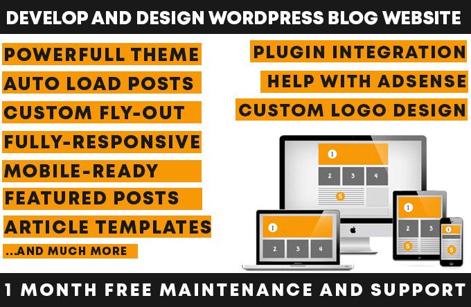 I will design and develop wordpress blog website