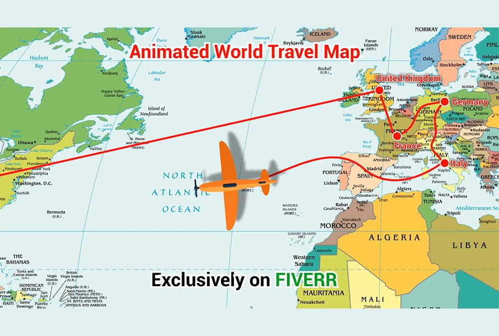 Create Animated World Travel Map Or Animated Street Map By Hamjaiu