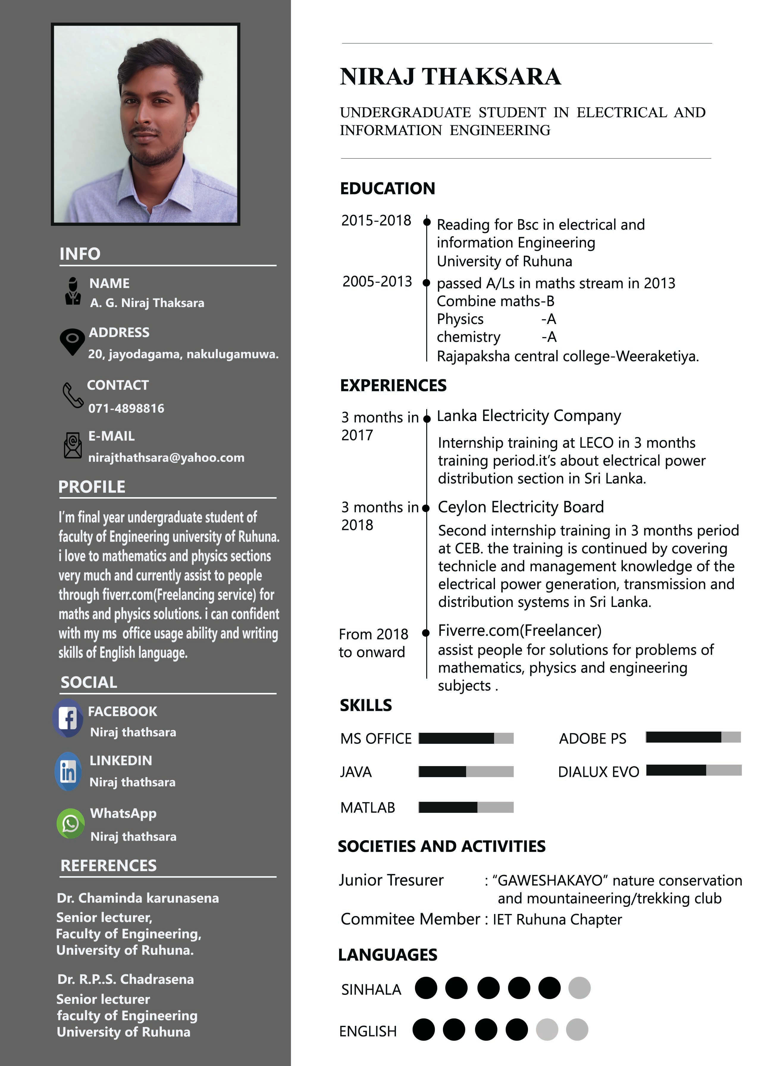 nirajthathsara : I will design you to smart and professional CV and cover  letter for $5 on www.fiverr.com