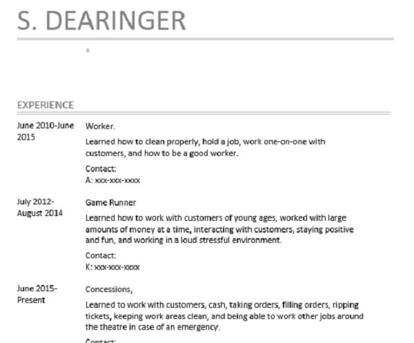 Outstanding resume or cover letter by Sdearinger