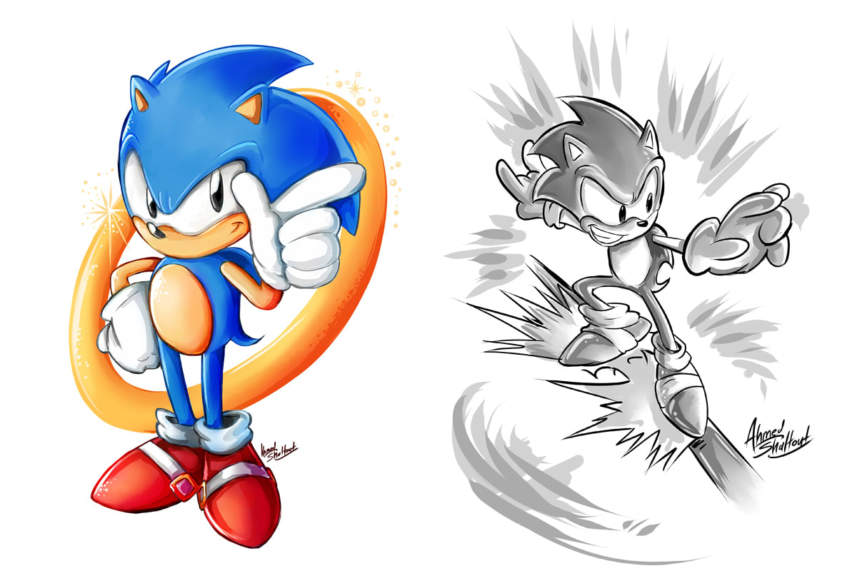 Draw You Sonic The Hedgehog Fan Art By Ahmedshaltout