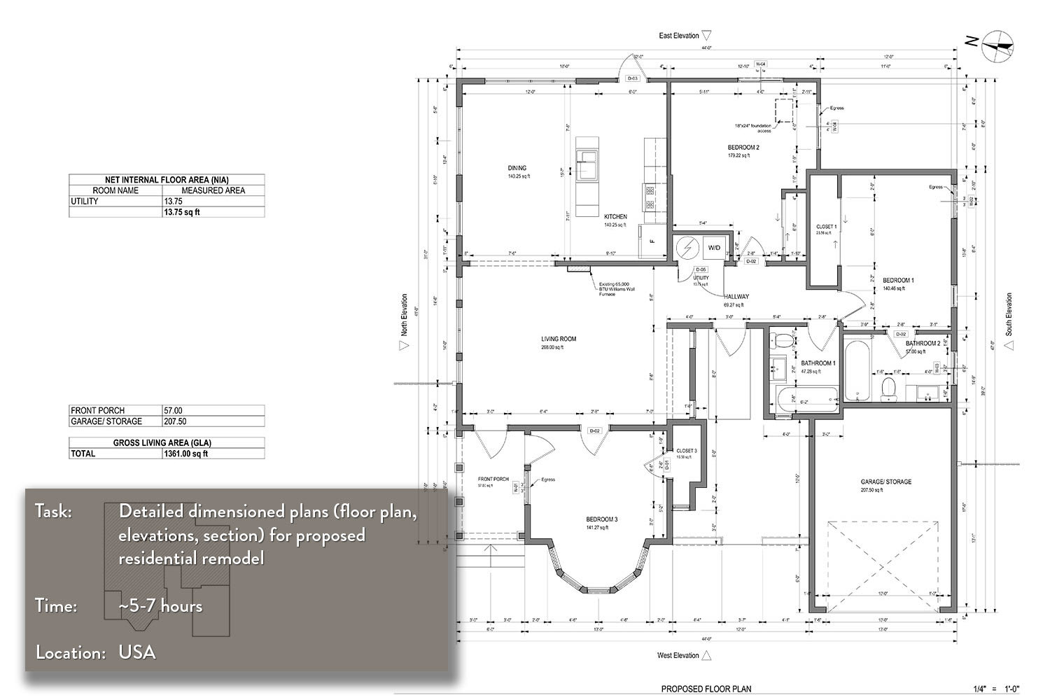 Draw an architectural floor plan by