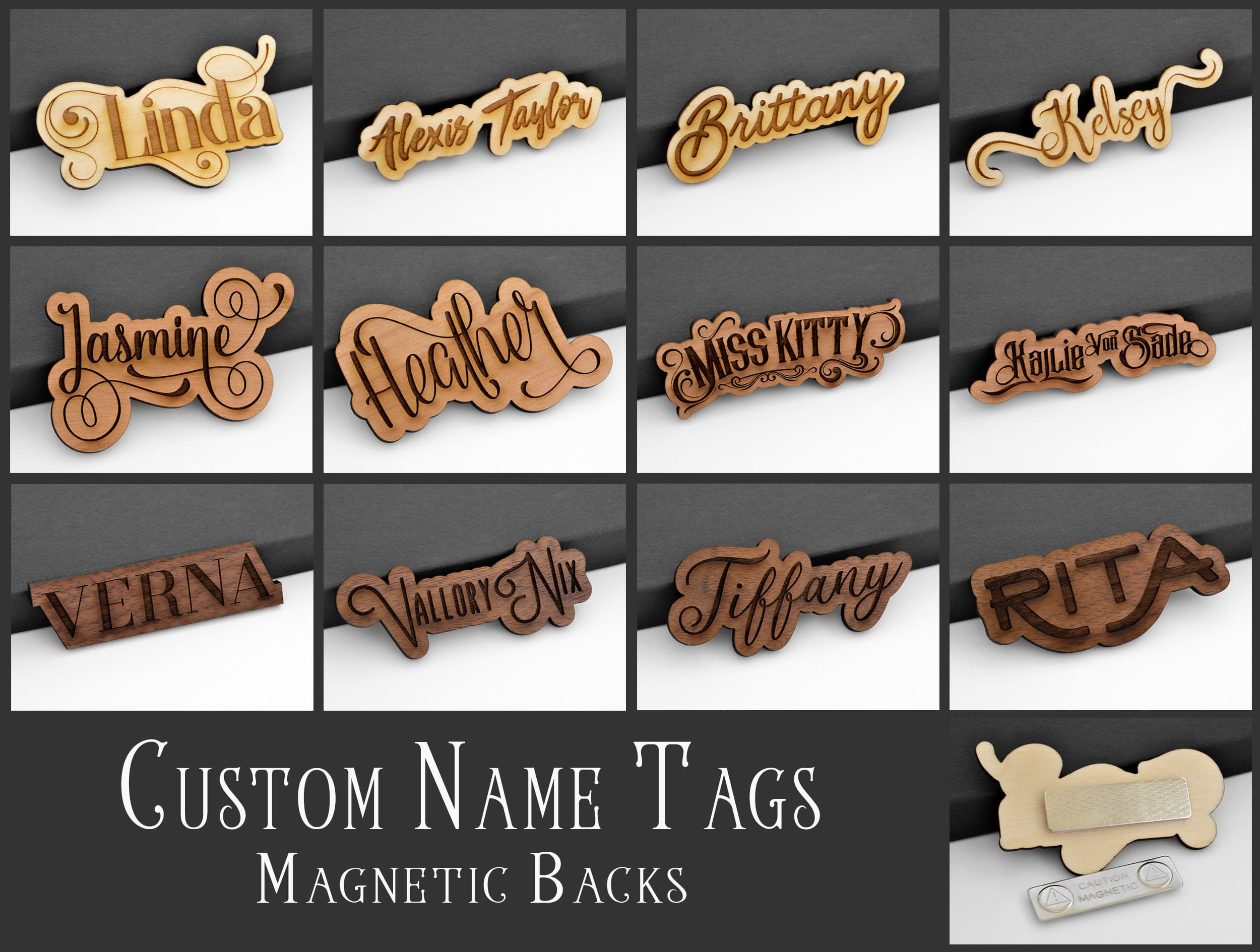 create a personalized name tag by laser engraving wood