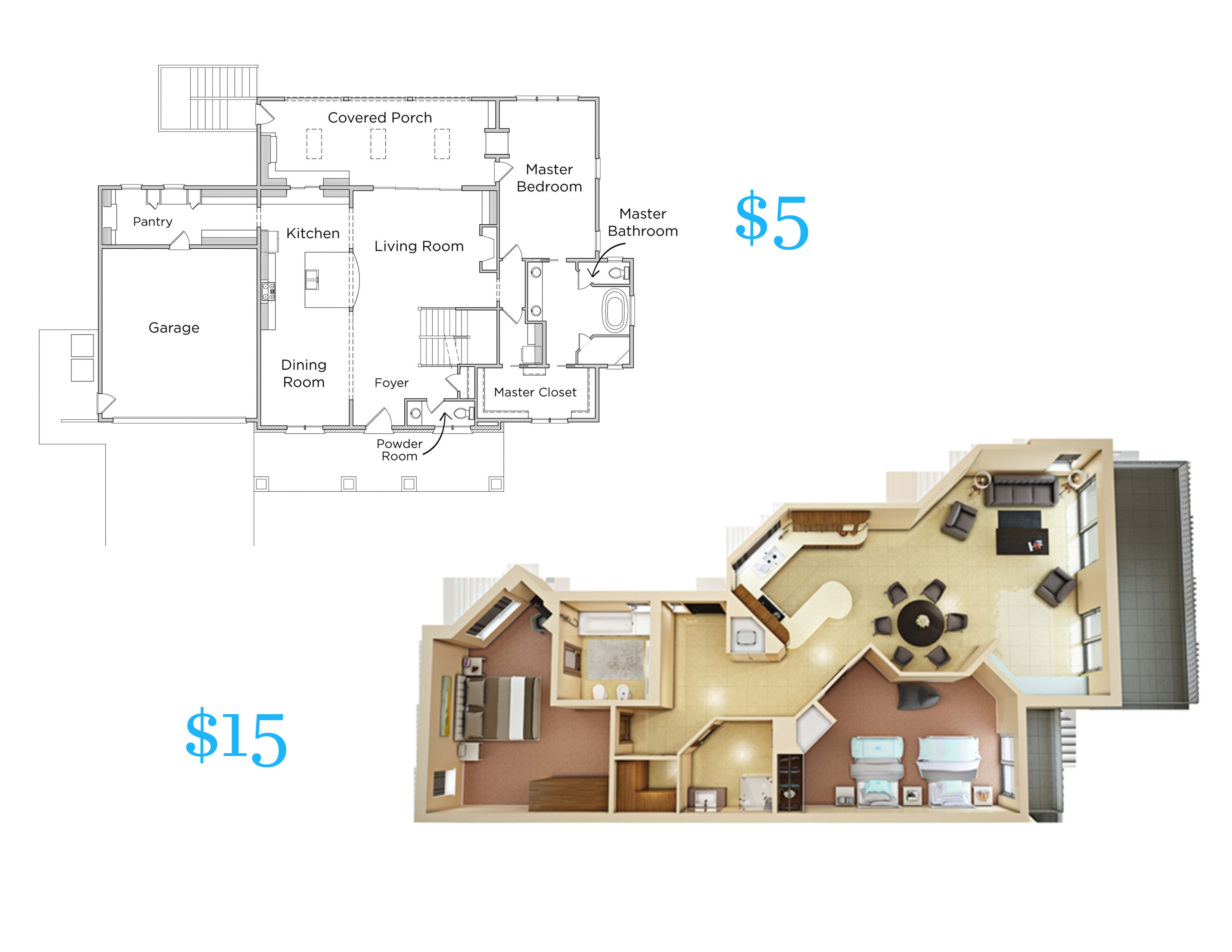 Make 3d Floor Plan From Hand Sketch 2d Floor Plan By Designpurpose