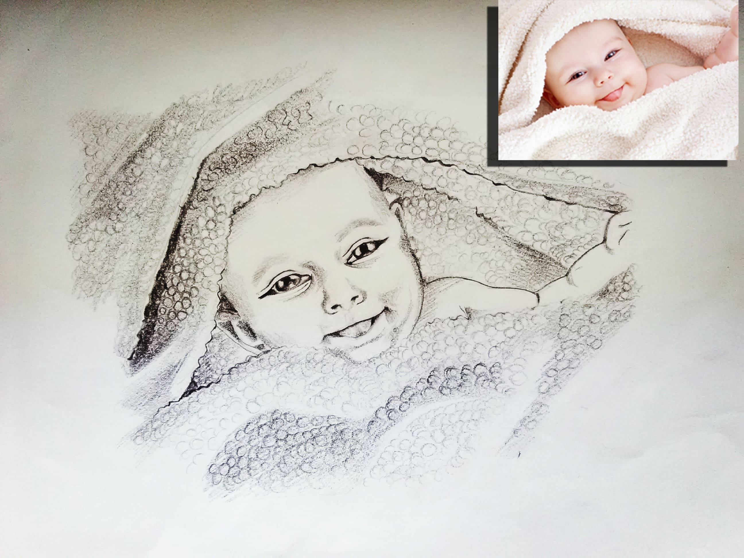 I will draw realistic pencil sketch portrait