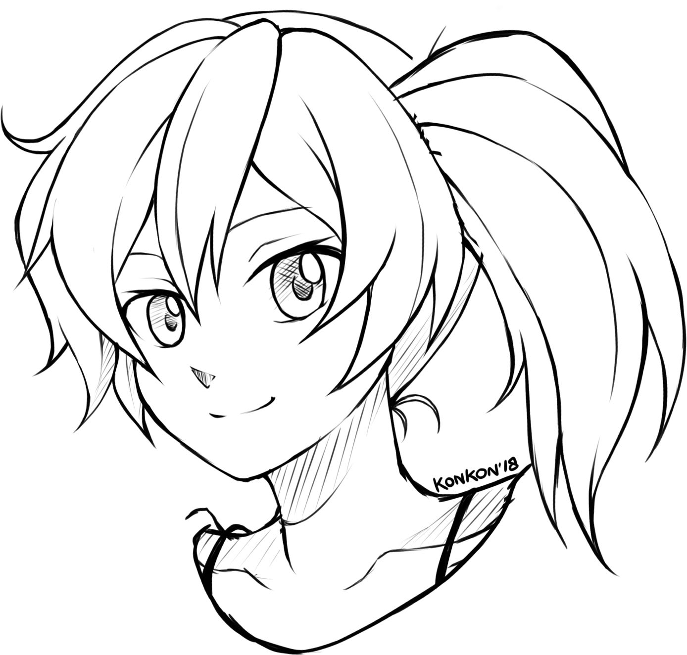 Draw anime style portrait sketch by Karrakon