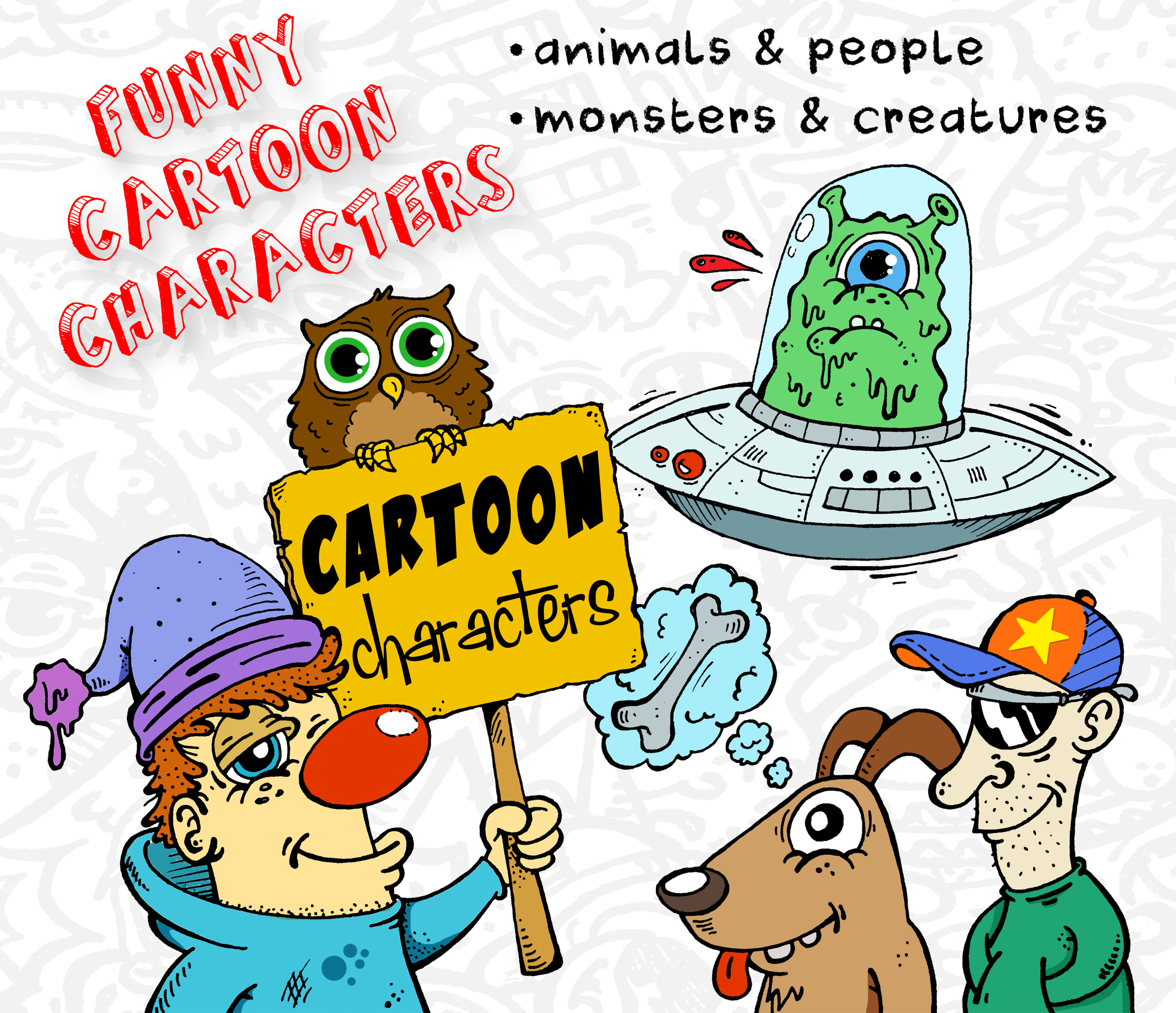100 Pictures Cartoon Characters draw funny cartoon characters mascot