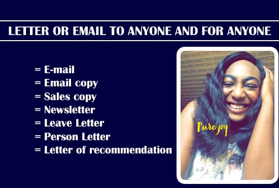 Write Any Type Of Letter Or Email To Anyone For Anyone