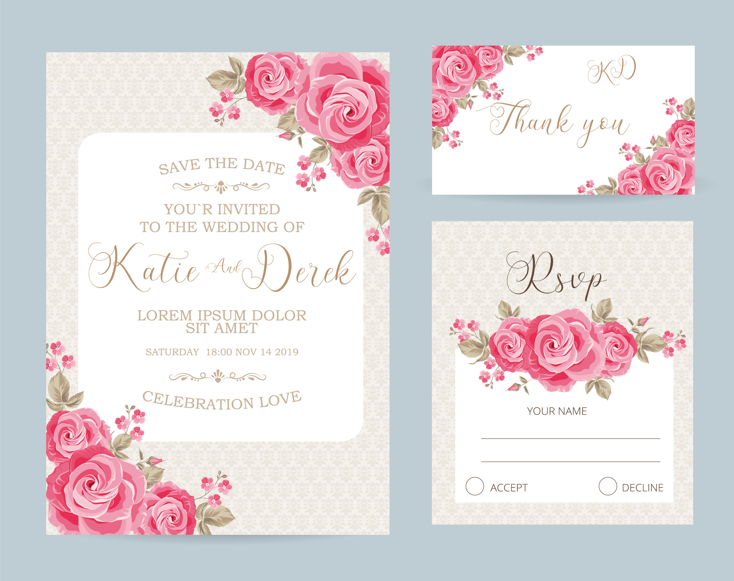 Wedding invitation, floral invite thank you, rsvp modern card design by  Nihadceferov