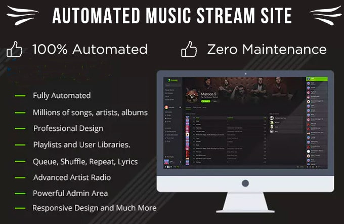 create fully automated music streaming website