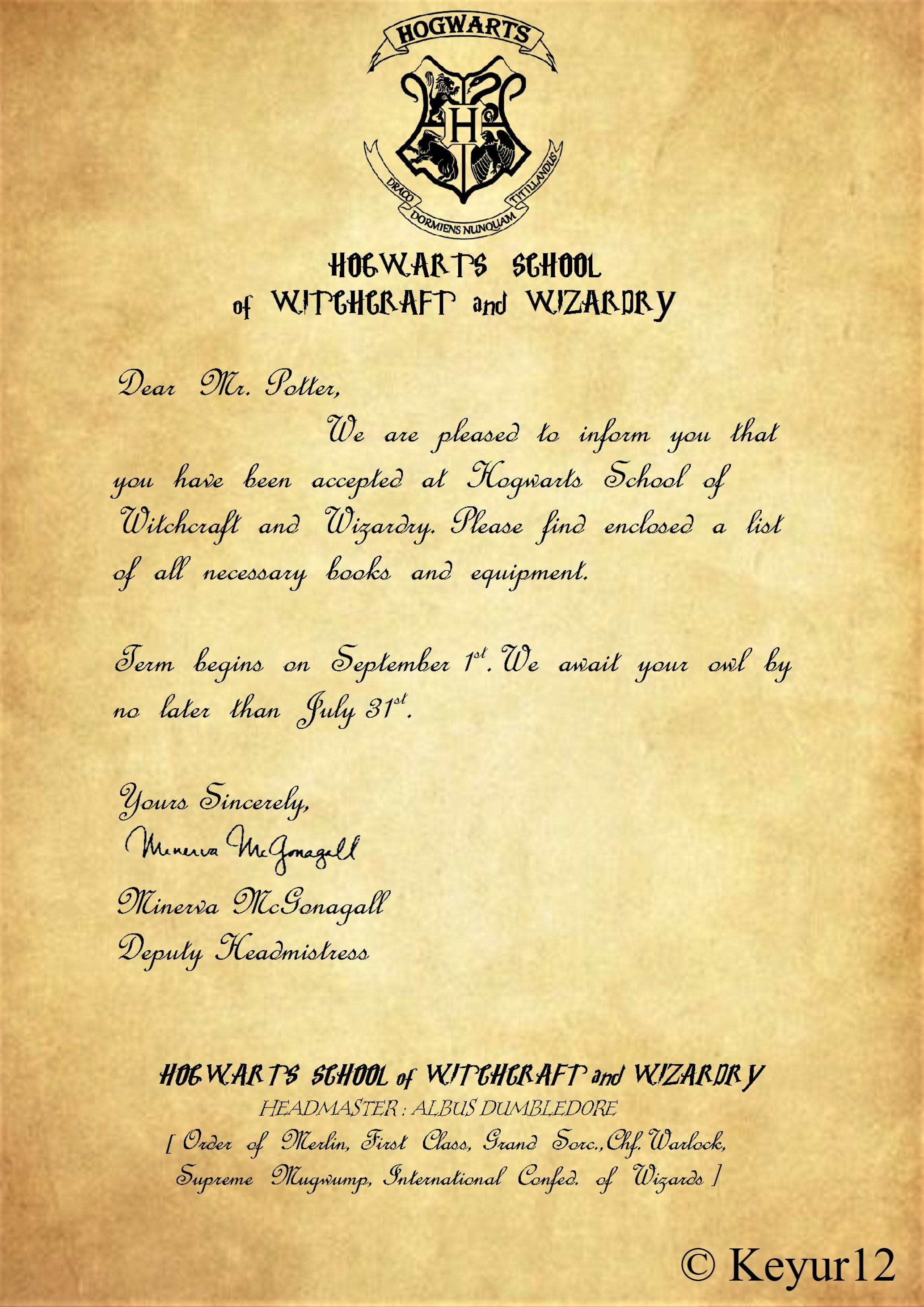 Make a custom harry potter hogwarts acceptance letter by Keyur12