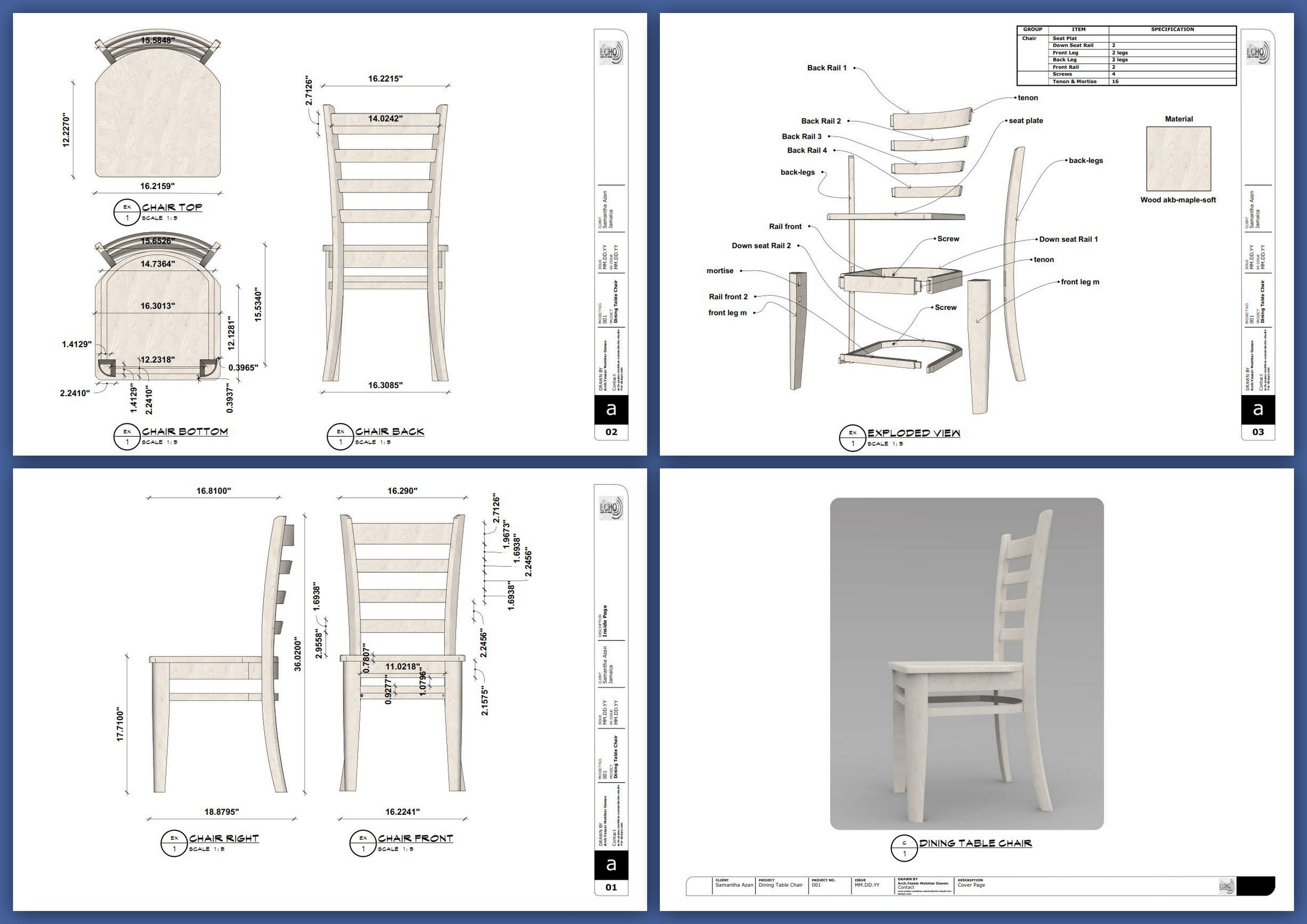 Draw a blueprint of your furniture or 11d product and objects by