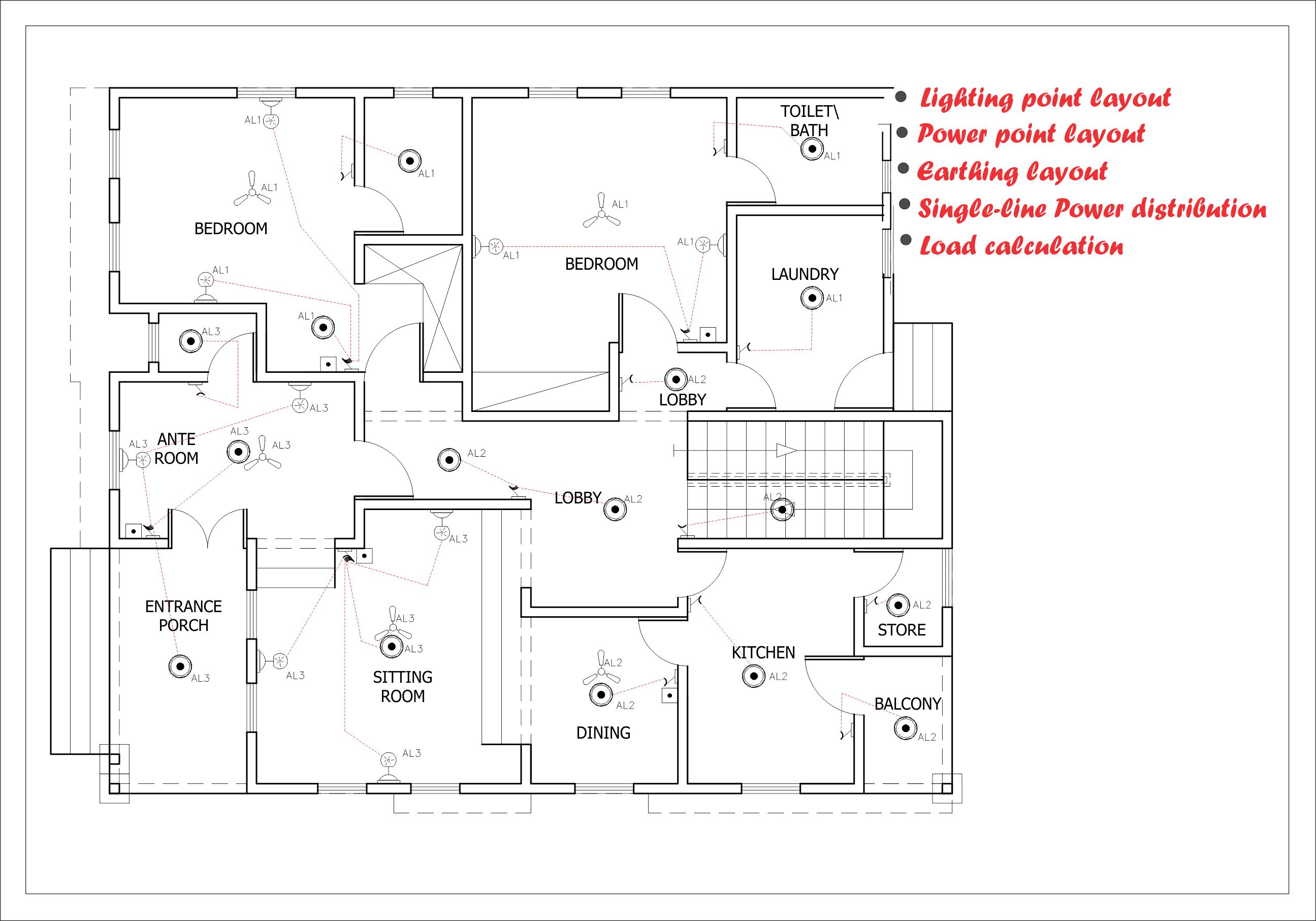 [ANLQ_8698]  Do electrical drawings for house wiring,etc with autocad by Draevedesigns | Electrical House Plan Layout |  | Fiverr