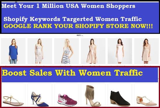drive USA women shopify traffic by shopify marketing or shopify promotion