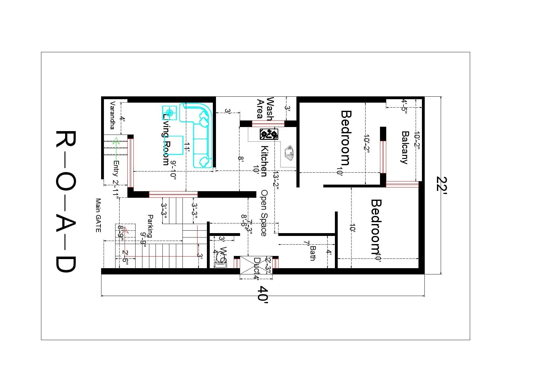 I will draw a floor plan in autocad