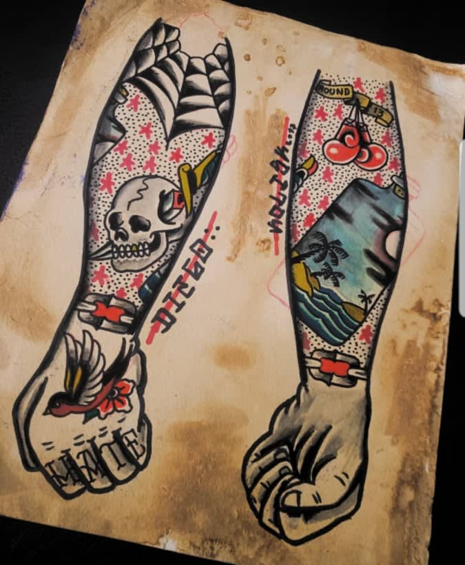 Design Your Traditional American Tattoo With A Professional Tattoo Artist By Diegokolsik