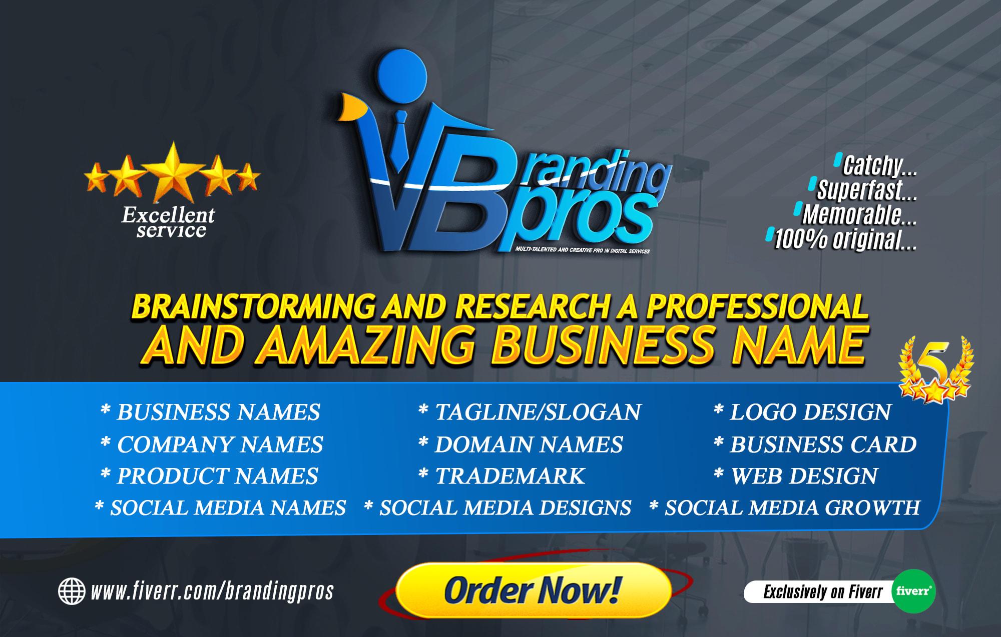 Brainstorm 20 Business Name Brand Name Company Name By Brandingpros