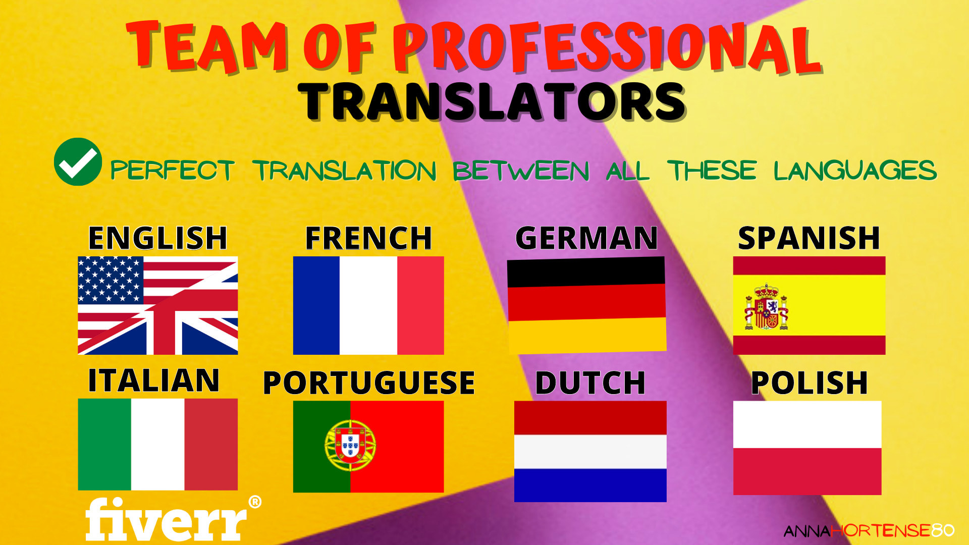 Translate English French Spanish German Italian Portuguese Dutch And Polish By Annahortense80 Fiverr