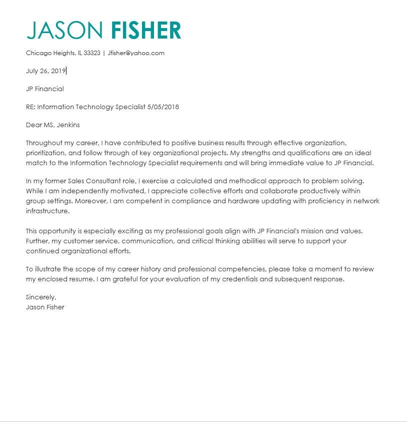 Entry level information technology cover letter custom letter ghostwriter websites for phd