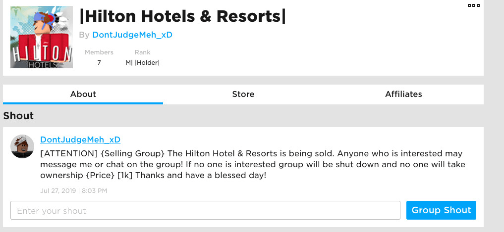 Selling A Roblox Hotel Group By Yousifislitttt