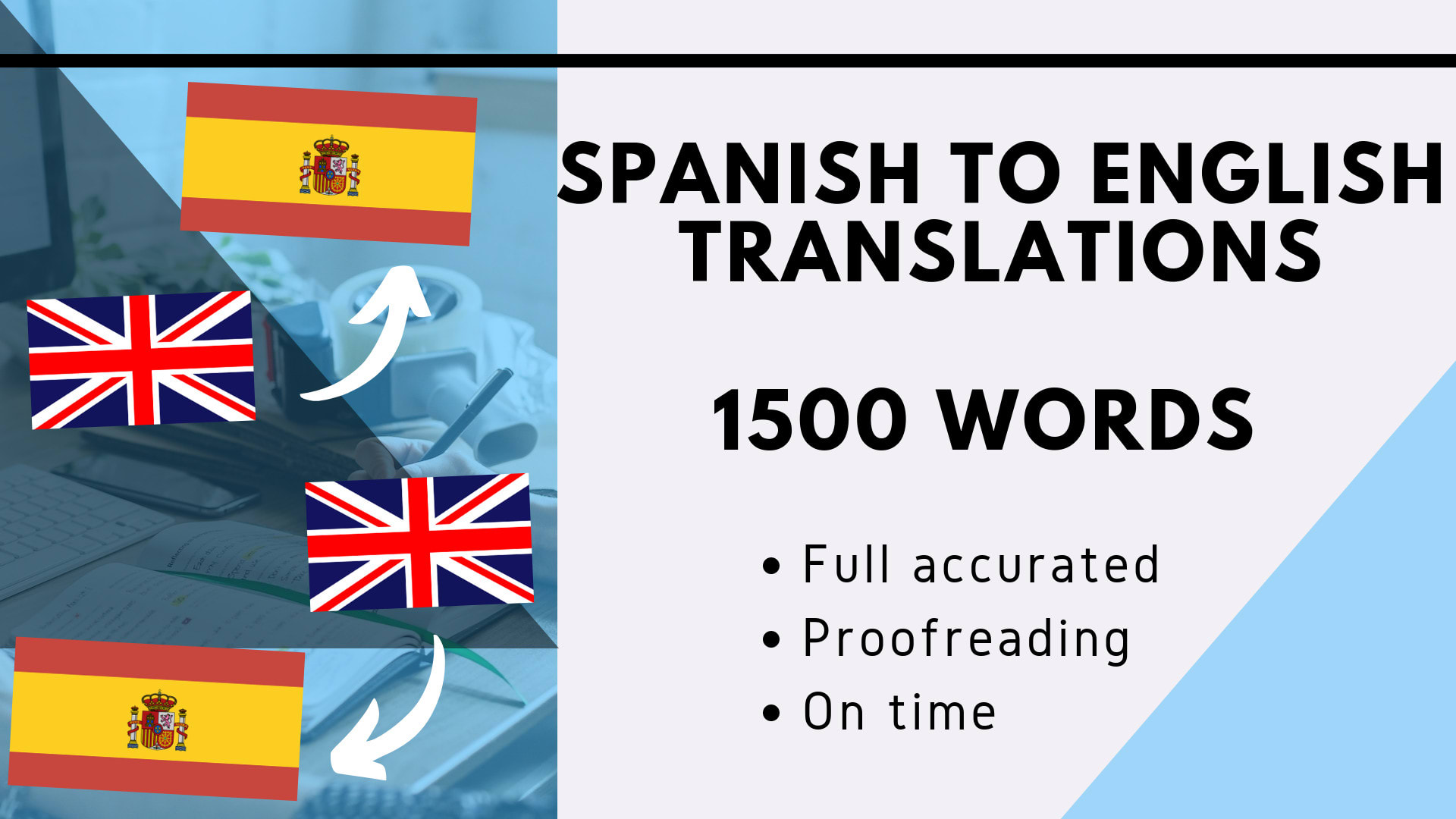 translate spanish to english 1500 words by davidperez08 fiverr