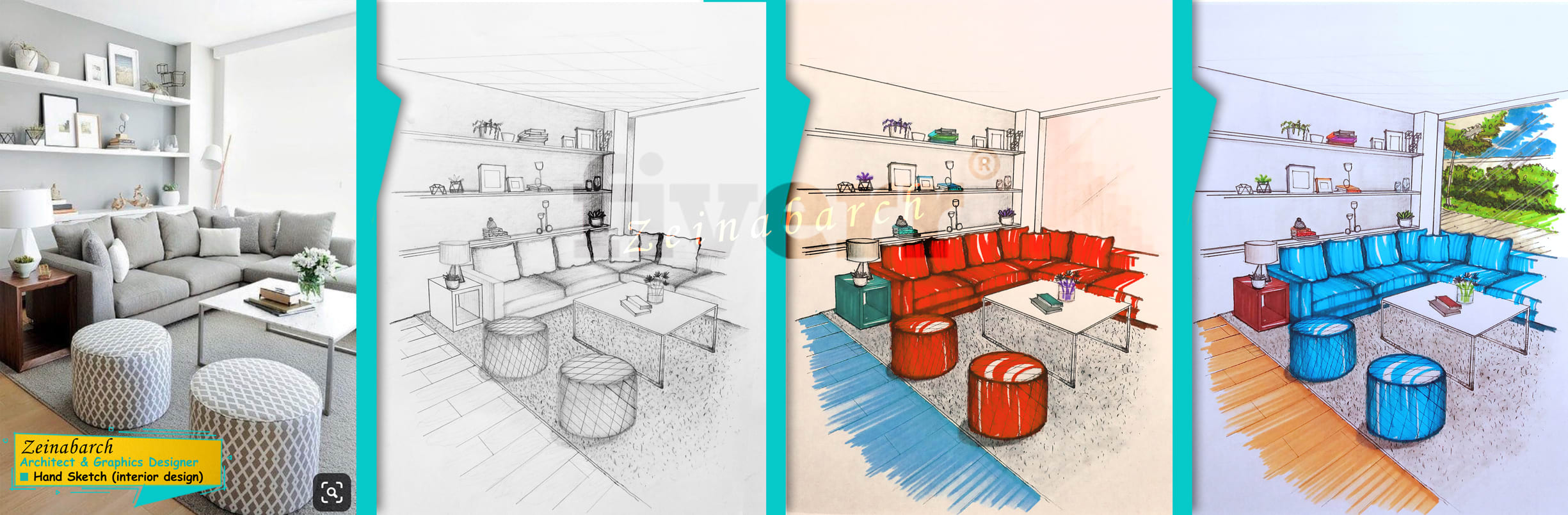 Draw Interior Architectural Hand Sketch As You Love With Pencil And Marker By Zeinabarch