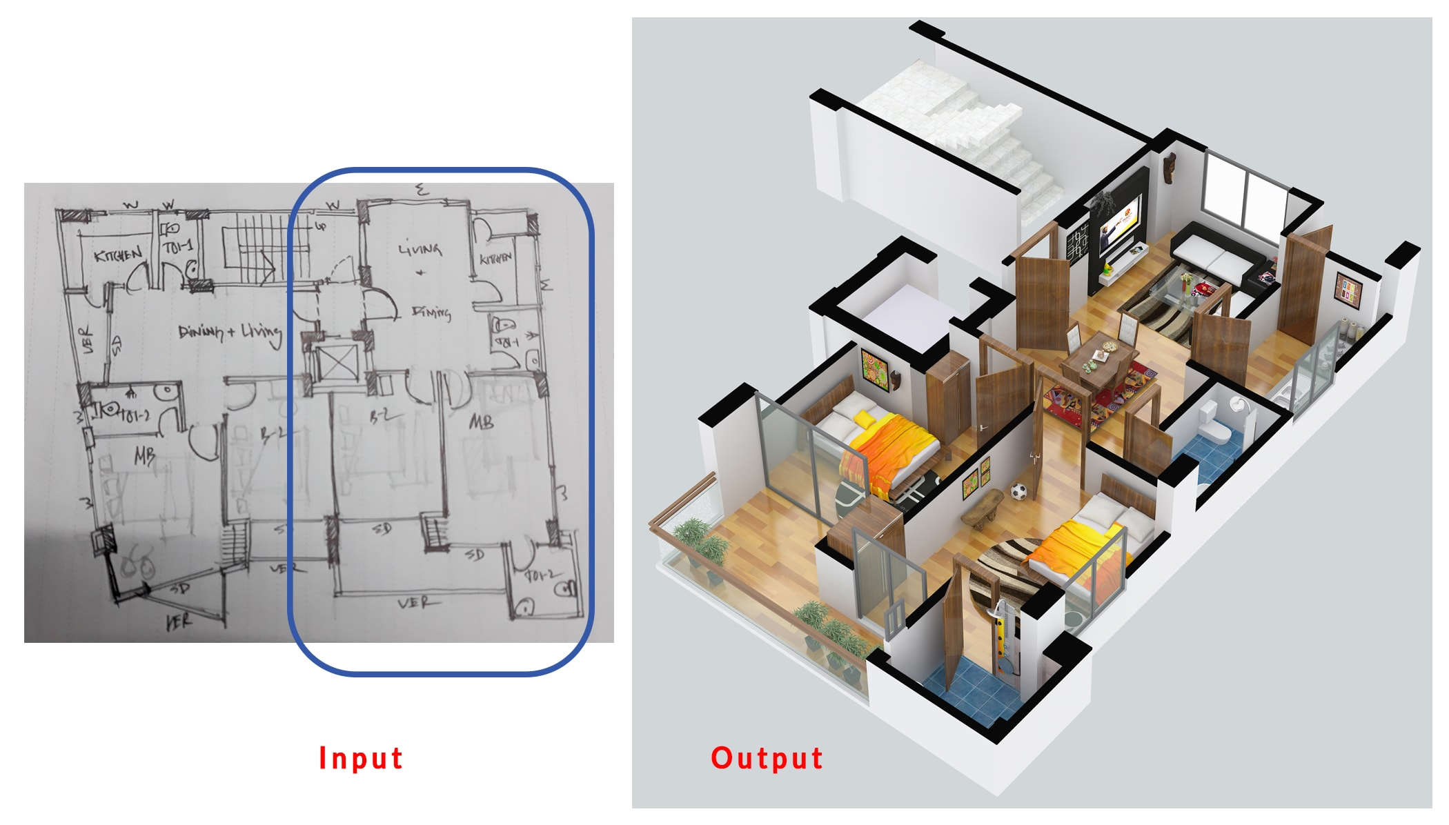 Make Awesome Floor Plan Into 3d By Sketchup Or 3dsmax By