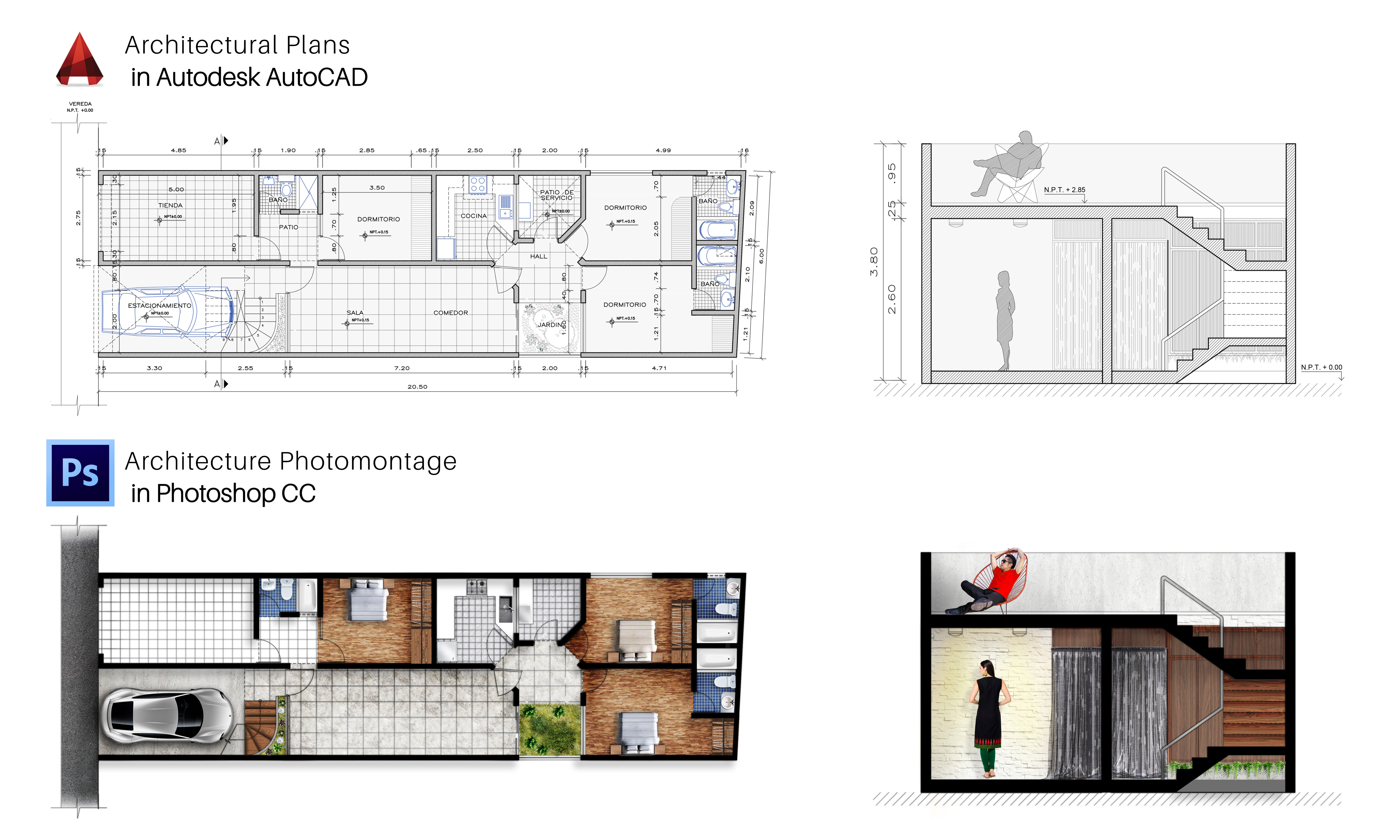 Draw floor plans, sections and