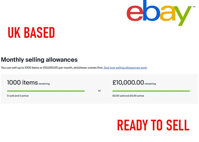 Set An Active Ebay Account With 1000 Selling Limits By Car Daba