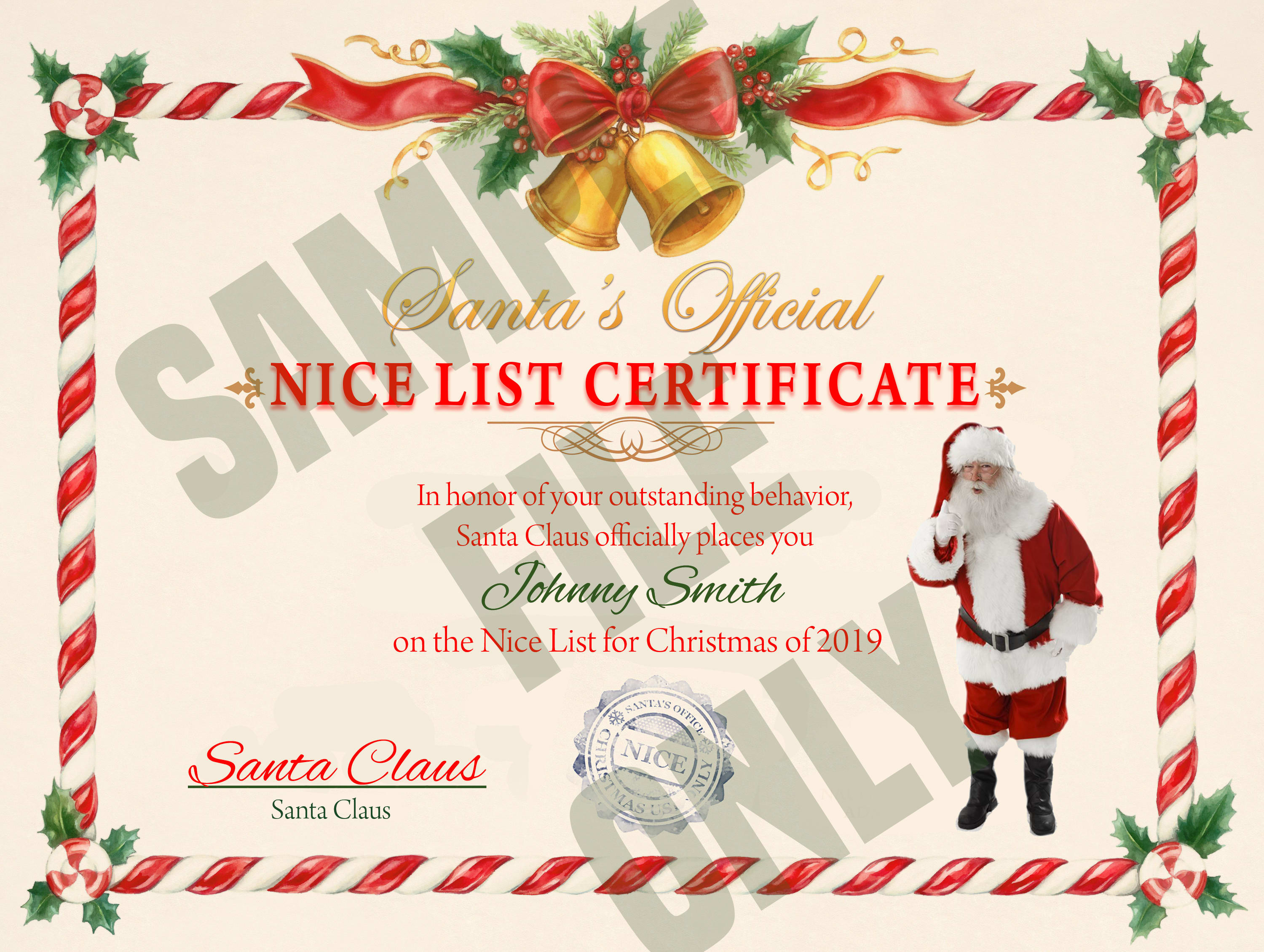 Create A Nice List Certificate For Your Child Or Grandchild Or Anyone By Frwalters