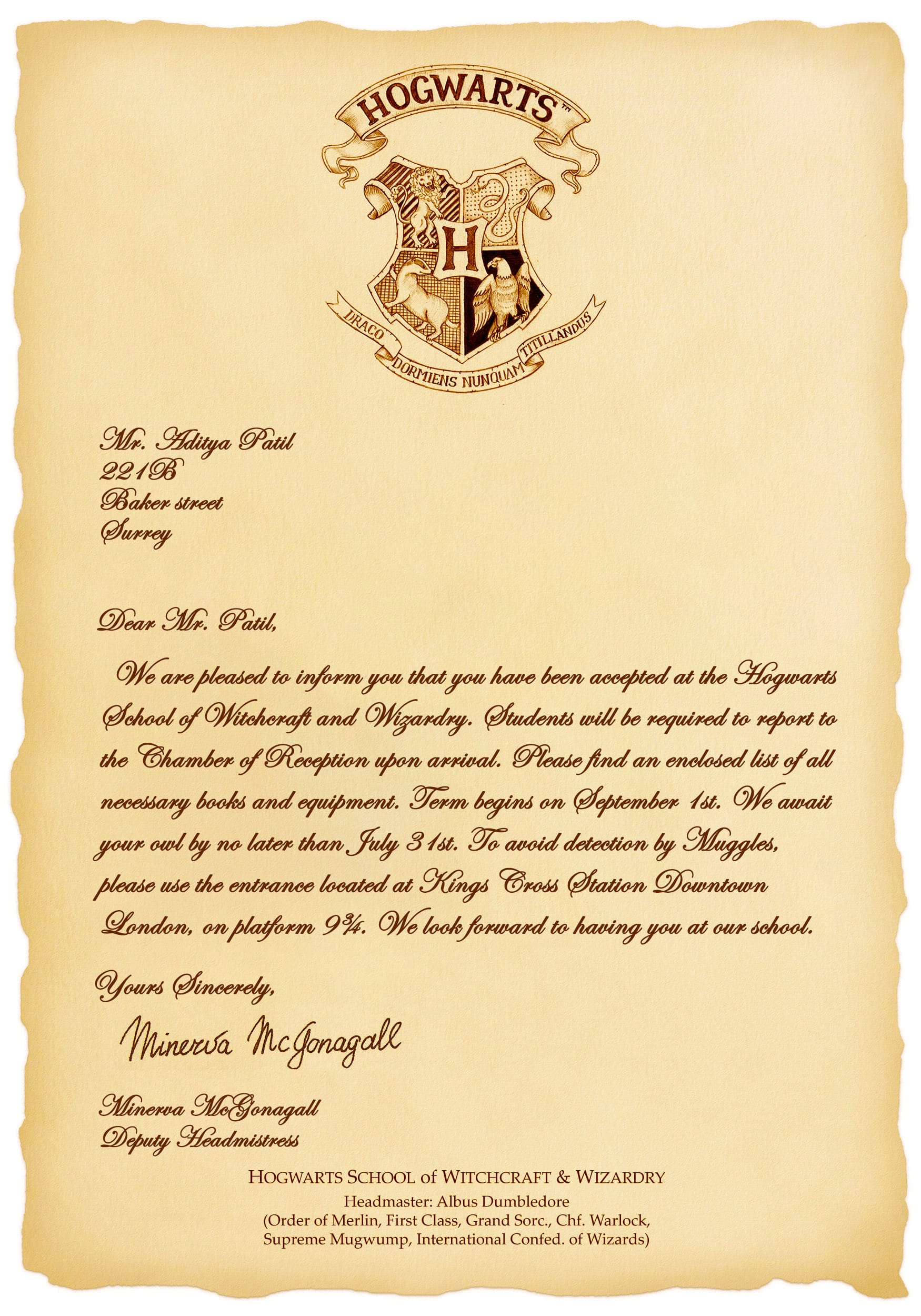 Personalised Harry Potter Hogwarts Acceptance Experience day Letter Parchment