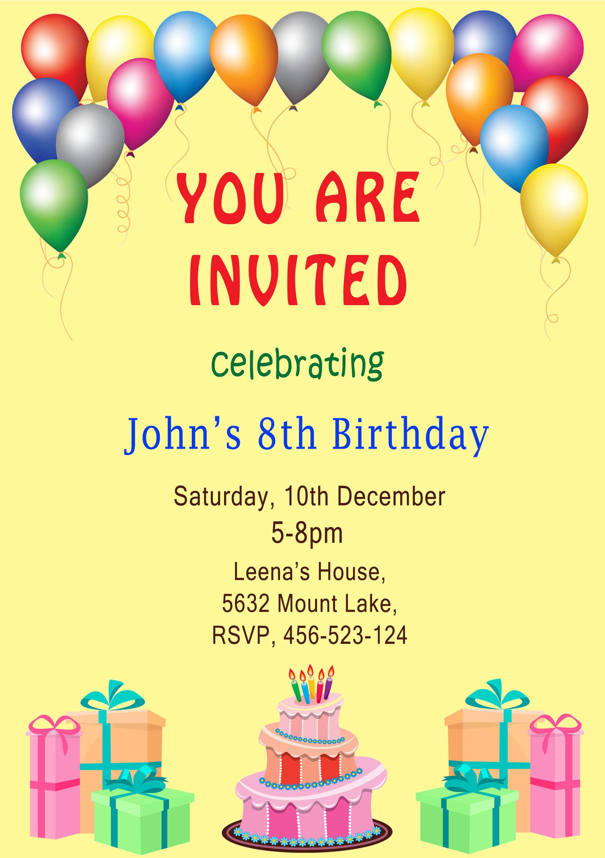 Make birthday invitation cards by Akanksha6